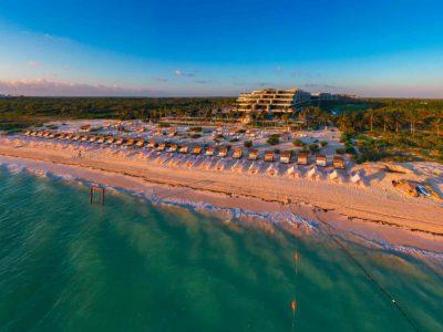 Estudio Playa Mujeres beach aerial view