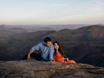 couple on stone mountain top